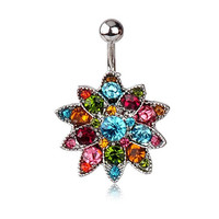 IPINK Colorful Lotus Flower Rhinestone Navel Belly Button Barbell Ring Body Piercing