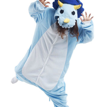 KIGURUMI Cosplay Romper Charactor animal Hooded Nightclothes Pajamas Pyjamas Costume sloth  outfit Sleepwear-Triceratops