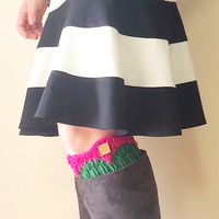 knit boot cuffs socks made with 100% wool - in hot pink and green - preppy gifts