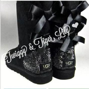 MDIG1O Crystal Bling Ugg Bailey Bow Boots made with Genuine Swarovski Crystals in Jet Hematit