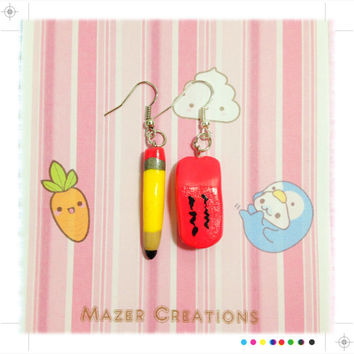 Pencil and Eraser Polymer Clay Earrings Kawaii