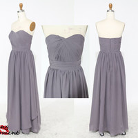 Affordable Long Grey Bridesmaid Dresses Under 100-Modest Princess/A-line Sweetheart Ruched Long Chiffon Bridesmaid Dresses Under 100 9006