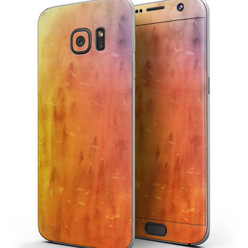 Washed Orange Absorbed Watercolor Texture - Full Body Skin-Kit for the Samsung Galaxy S7 or S7 Edge