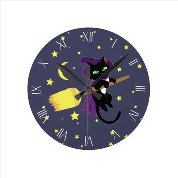 Flying Witch Cat Roman Numerals Round Clock
