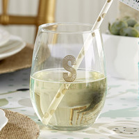 Personalized Rustic Wedding Stemless Wine Glasses