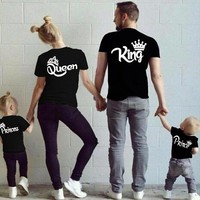 New Summer King Queen Prince Princess Family Matching Outfits Women Men Boy Girl clothes Cotton Family t-shirts black white tee