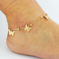 New Arrival Shiny Stylish Gift Ladies Sexy Cute Jewelry Hot Sale Summer Chain Butterfly Tassels Anklet [6464860609]