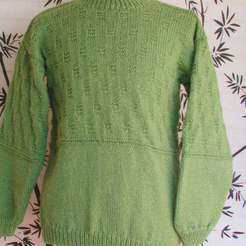 Men's Crew Neck Sweater Leaf Green, Pullover Sweater, Mens Medium