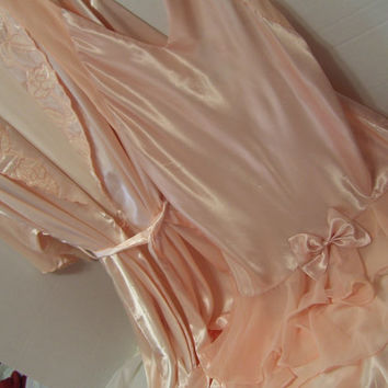 Peignoir Set Peach/Pink Blush  Liquid Satin Charmeuse Long Robe and Chemise Night Gown With Chiffon Honeymoon Bridal Resort Cruise Wear