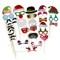 2016 33pcs Christmas Party Photo Booth Props Accessories Glass Cap Moustache Attached to the Sticks, NO DIY Required