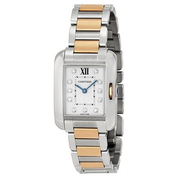 Cartier Tank Anglaise Small Silver Dial Stainless Steel 18kt Rose Gold Ladies Watch