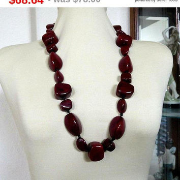 SALE Dark Burgundy Abstract Art Glass Beads Chunky Necklace Vintage Haute Couture