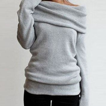 Women's Stretchy Sweater   Shawl Collar