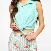 Urban Outfitters - Pins And Needles Pastel Eyelet Tie-Front Shirt