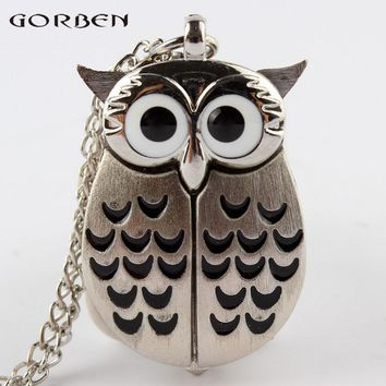 2017 special design 2 color owl shape quartz pocket watch mini size with long chain new pattern pocket watch for men or women