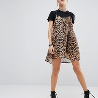 The Ragged Priest Leopard Cami Over T-Shirt Dress