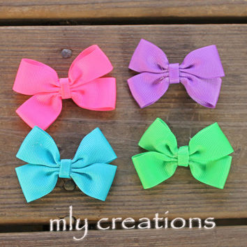 2 inch bow, PICK 5, mini bows, girls bows, hair bows, little bows, little girl bows, bow clips, small bows, infant clips, pigtail bows