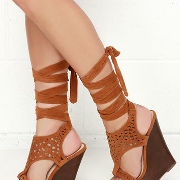 Lift Wrap Chestnut Suede Leg Wrap Wedges