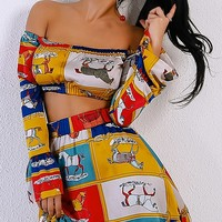 Funny Pages Cartoon Long Sleeve Off the Shoulder Crop Top Ruffle Skirt Two Piece Mini Dress