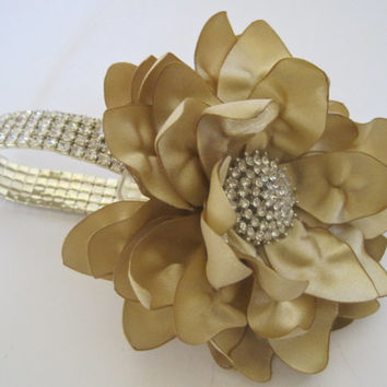 Wrist Corsage Gold Champagne Flower Rhinestone Gold Bracelet Bride Bridesmaid Mother of the Bride Prom with Rhinestone Accent Custom Order