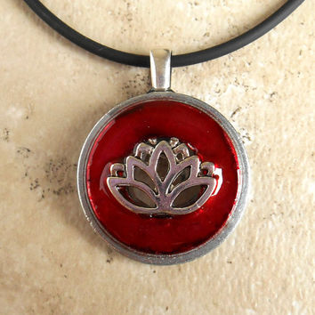 Lotus Flower Necklace: Red - Flower Jewelry - Lotus Blossum - Unique Jewelry - Spring Jewelry - Pastel Necklace - Mothers Day