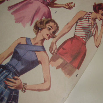 Vintage 1950's Simplicity 2086 Halter Tops Sewing Patterns, Size 12, Bust 32