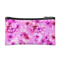 Pink flower pattern cosmetic bag