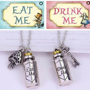 Alice In Wonderland Drink Me Eat Me Charms Necklace Couple Pendant