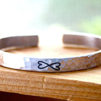 Hammered silver cuff Infinity bracelet