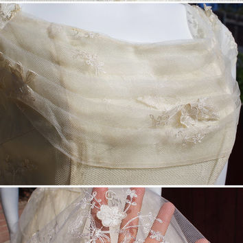 Stunning Vintage 1950's Emma Domb Cupcake Ballerina Party Prom Wedding Dress with Tulle Embroidery