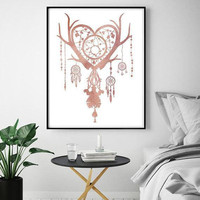 Dream catcher Bohemian art Wedding decor Feathers print Motivational art Housewarming gift Yoga gift Door decor Digital Instant download