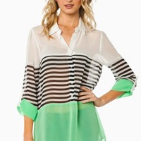 RUSSE STRIPED BLOUSE IN MINT