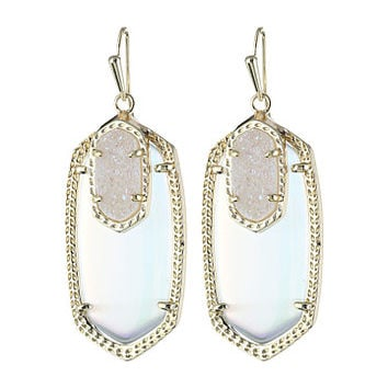 Kendra Scott Emmy Earrings Gold/Iridescent Slate Cat's Eye w/ Drusy - Zappos.com Free Shipping BOTH Ways