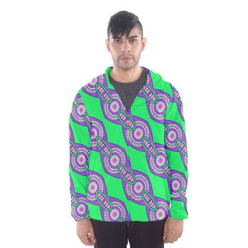 Purple Chains On A Green Background Mesh Lined Wind Breaker (men) Hooded Windbreaker (Men)