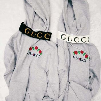 GUCCI : Champion flower rose print sweater grey hoodie pullover Grey And Headband G