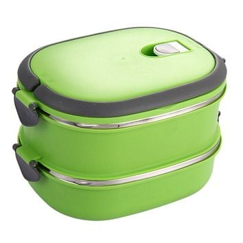 Durable Insulated Lunch Box Stainless Steel Food Storage Container Thermo Server Essentials Thermal Double Layer Green