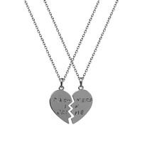 Lux Accessories Partners in Crime Valentine Detached Heart BFF Best Friends Necklaces (2 PC)