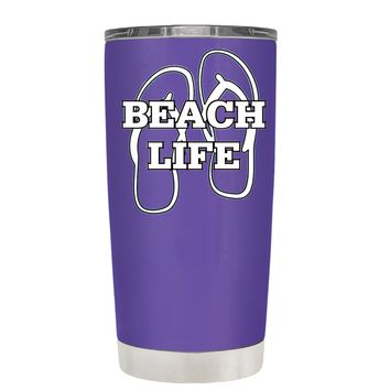 The Beach Life Sandals on Purple 20 oz Tumbler Cup
