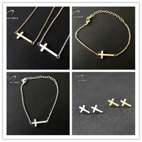 Set Stainless Steel Tiny Cross Pendant Necklace Stud Earrings Bracelet Ring