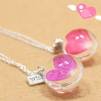Vintage Style Handmade Heart shaped rose Specimens Necklace Gift 134