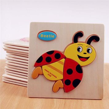 DCCKL72 3D wooden jigsaw puzzle wooden toys for children cartoon animal puzzle intelligence kids educational toy