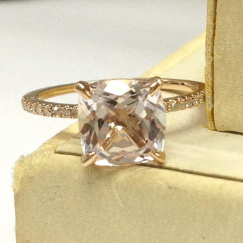 Morganite Engagement Ring 14K Rose Gold!Diamond Wedding Bridal Ring,8mm Cushion Cut Pink Morganite,Claw Prongs,Can handmade matching band