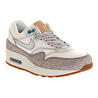 Nike AIR MAX 1 (L) METALLIC SILVER WHITE TURQUOISE Shoes - Nike Trainers - Office Shoes