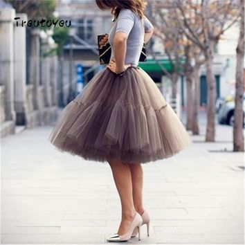 5 Layers 55cm Tutu Tulle Skirt Vintage Midi Pleated Skirts Womens Lolita Petticoat Bridesmaid Wedding faldas Mujer saias jupe