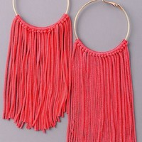 Fringe Hoop Earrings {Red}