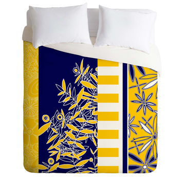 Madart Inc. Blue And Yellow Florals Duvet Cover