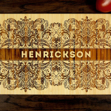 Personalized Wedding Gift, Custom Engraved Wood Cutting Board, Last Name Lace Design, Wood Anniversary Gift, Housewarming Gift, Hostess Gift