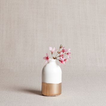 White and Gold Bud Vase