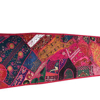 VINTAGE HANDMADE TABLE RUNNER PINK EMBROIDERED PATCHWORK ETHNIC INDIAN DECOR