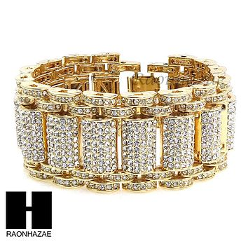NEW ICED OUT ALL GOLD PLATED MICRO PAVE SIMULATED DIAMOND 8.5 BRACELET KB023G